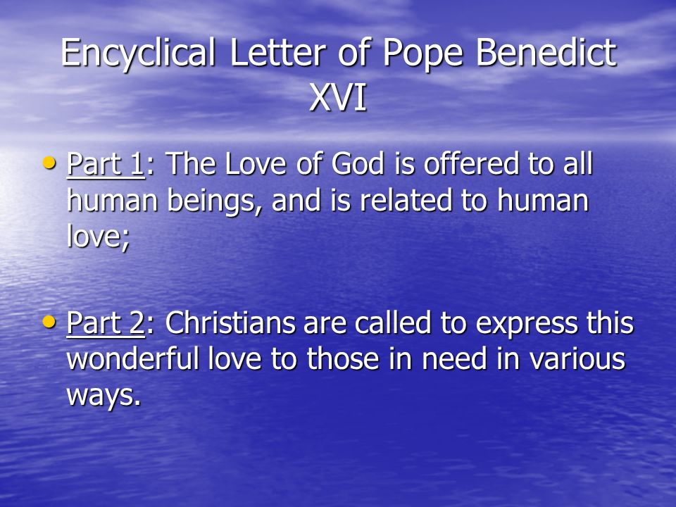 Encyclical Letter of Pope Benedict XVI