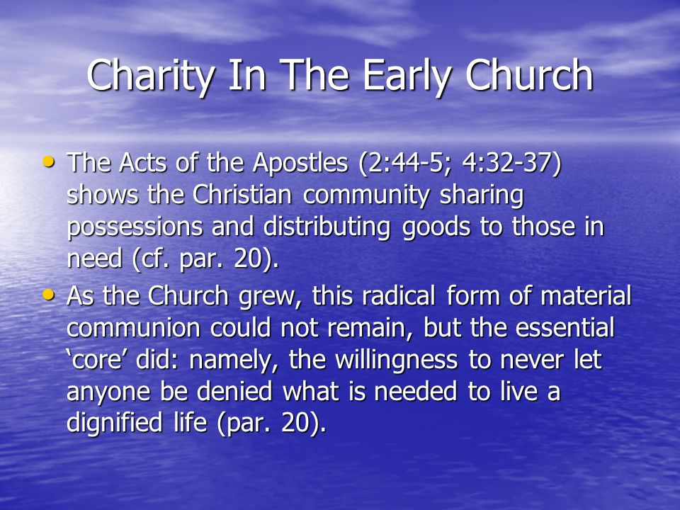 Charity In The Early Church