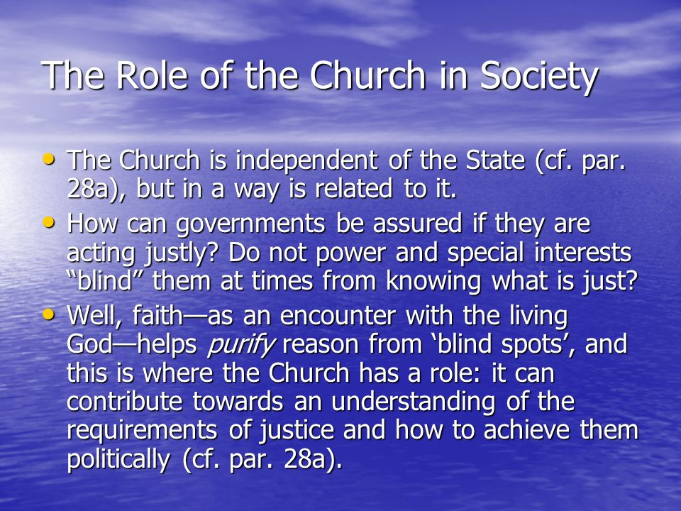 The Role of the Church in Society