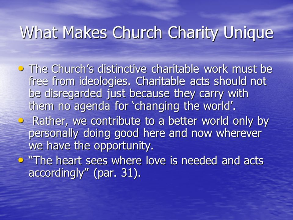 What Makes Church Charity Unique