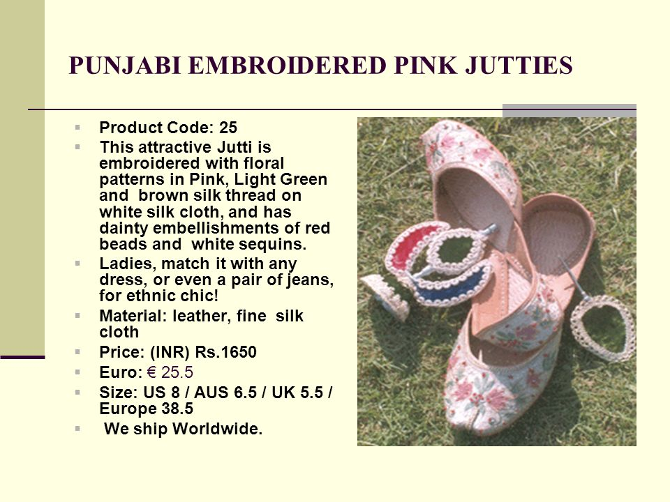 PUNJABI EMBROIDERED PINK JUTTIES