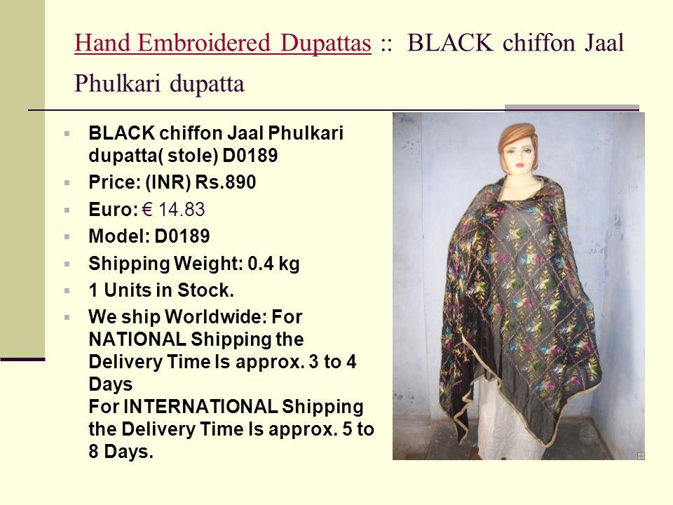 Hand Embroidered Dupattas :: BLACK chiffon Jaal Phulkari dupatta