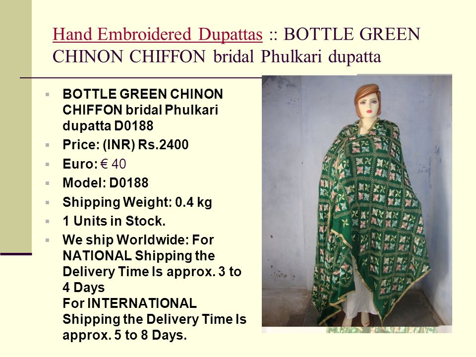 Hand Embroidered Dupattas :: BOTTLE GREEN CHINON CHIFFON bridal Phulkari dupatta