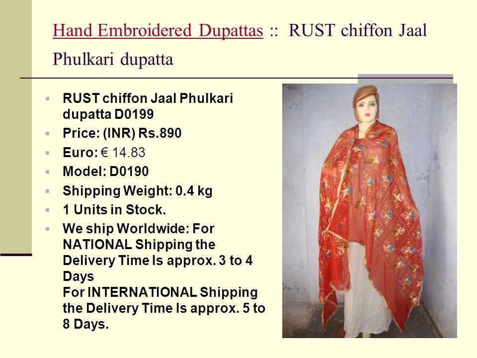 Hand Embroidered Dupattas :: RUST chiffon Jaal Phulkari dupatta