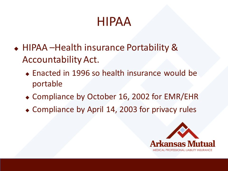 the health insurance portability and accountability Hipaa (health insurance portability and accountability act) hipaa table of contents introduction the health insurance portability and accountability act of 1996 (hipaa) was signed into law on august 21, 1996.