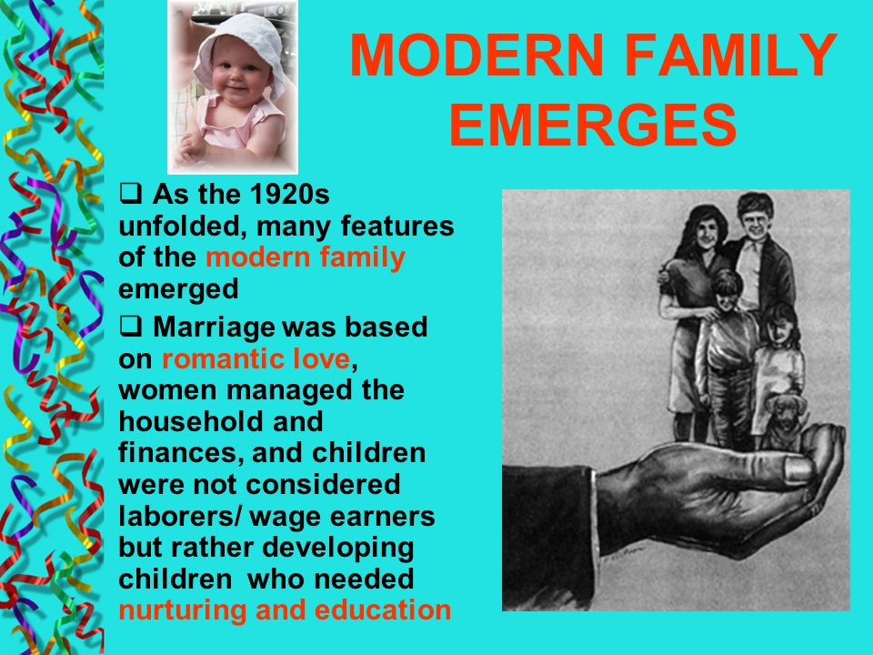 MODERN FAMILY EMERGES As the 1920s unfolded, many features of the modern family emerged.