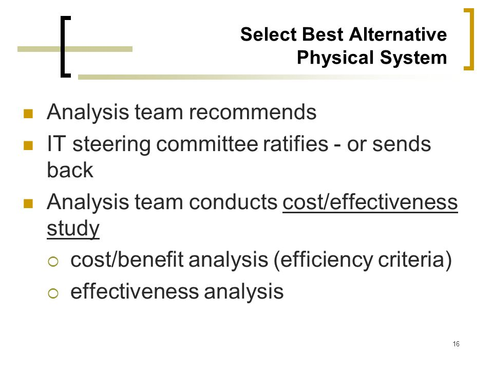 Select Best Alternative Physical System