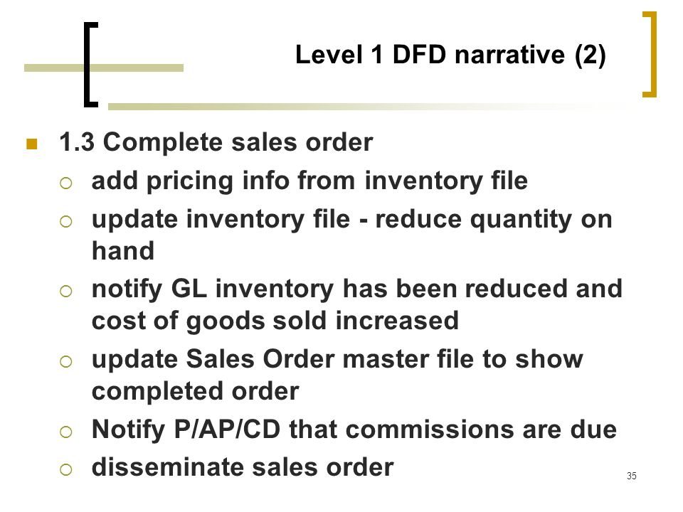 Level 1 DFD narrative (2) 1.3 Complete sales order. add pricing info from inventory file. update inventory file - reduce quantity on hand.