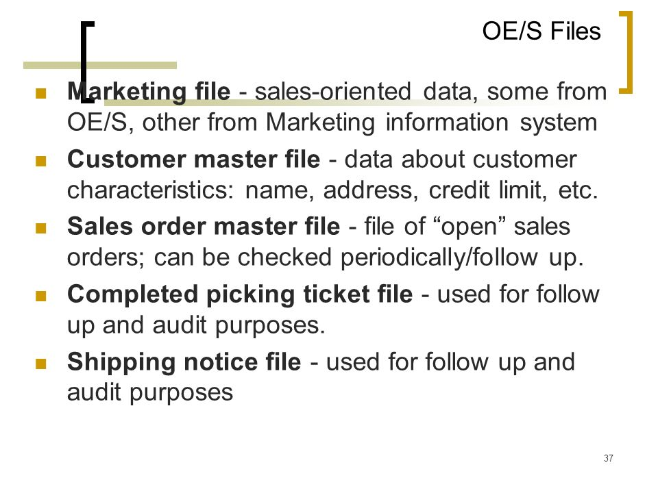 OE/S FilesMarketing file - sales-oriented data, some from OE/S, other from Marketing information system.