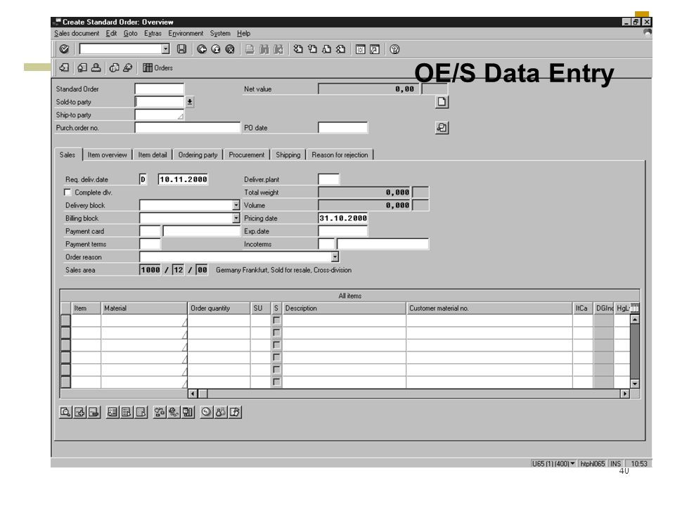 OE/S Data Entry