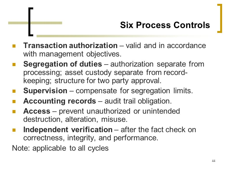 Six Process Controls Transaction authorization – valid and in accordance with management objectives.