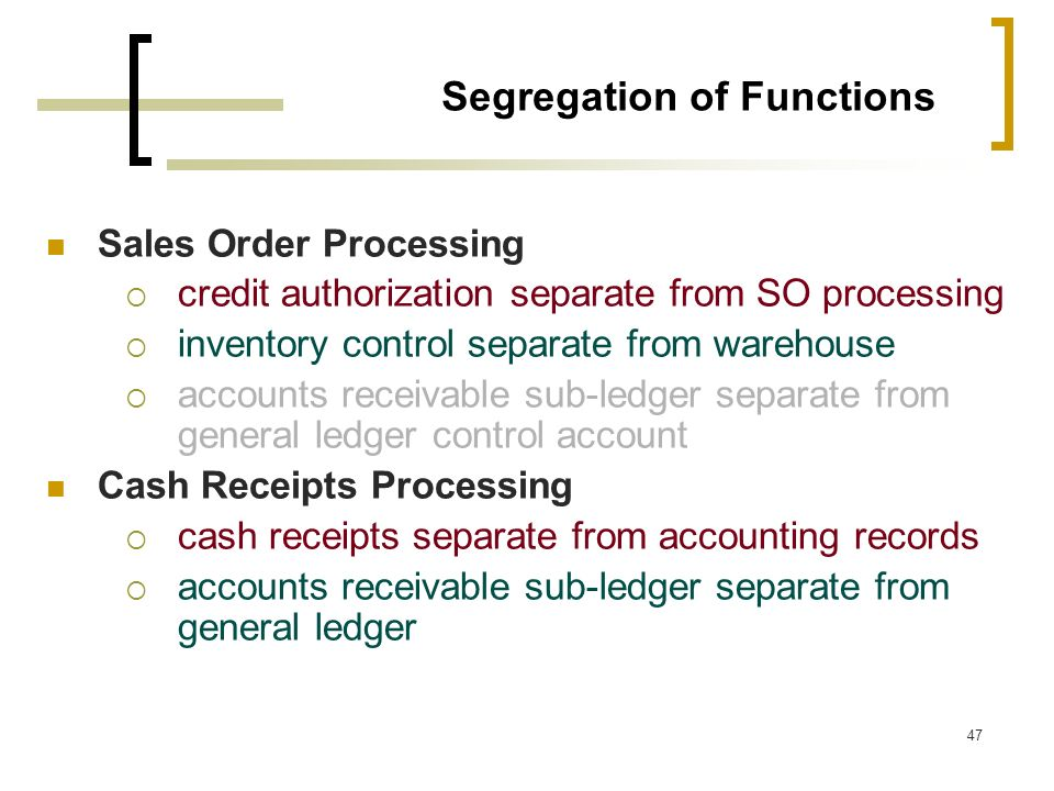 Segregation of Functions