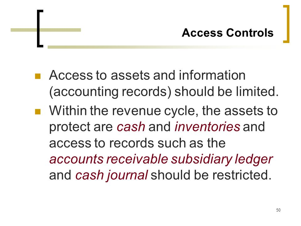 Access Controls Access to assets and information (accounting records) should be limited.