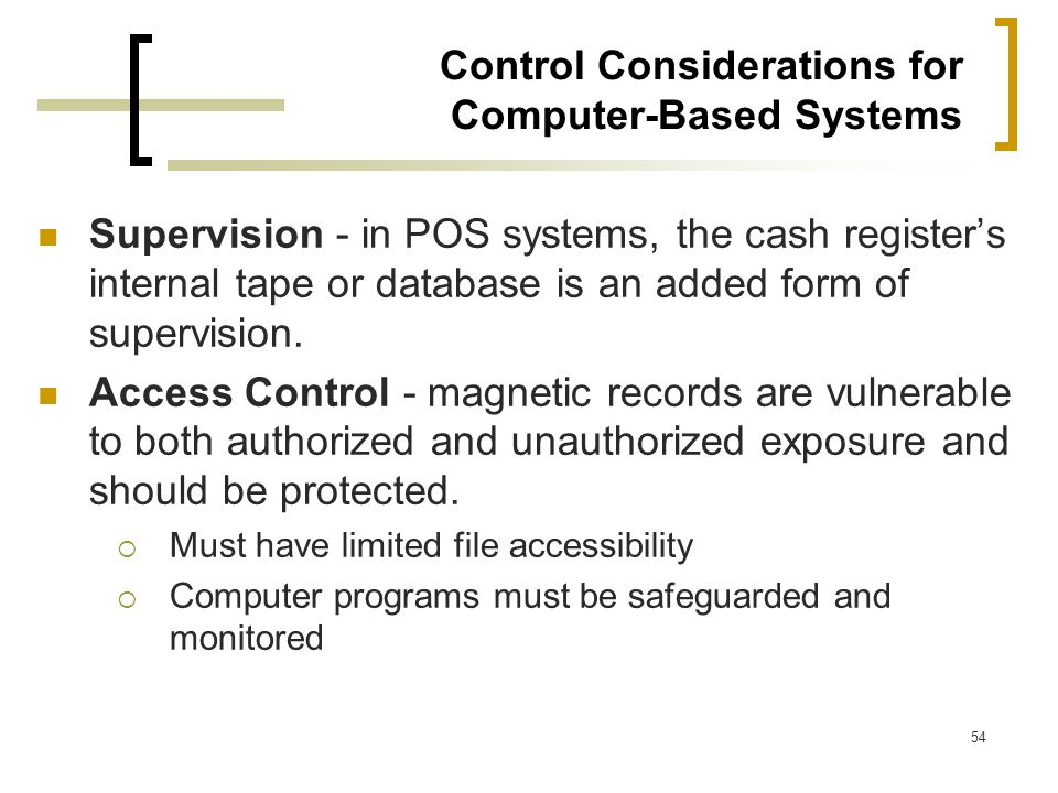 Control Considerations for Computer-Based Systems