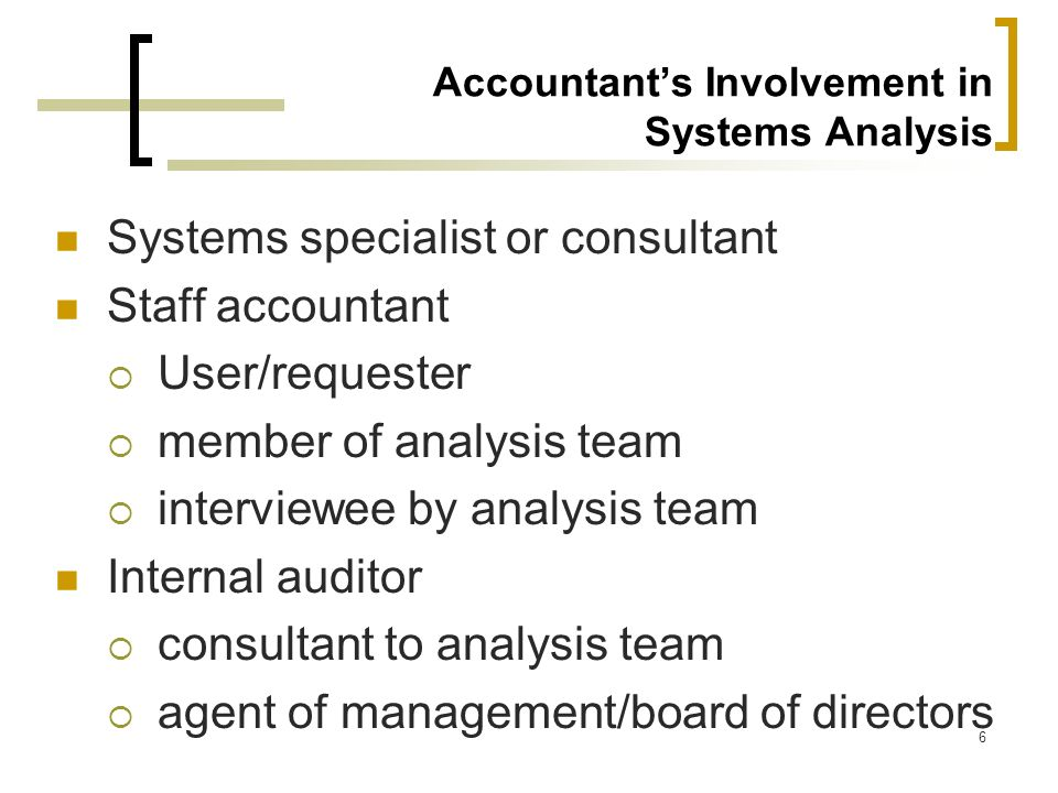Accountant's Involvement in Systems Analysis