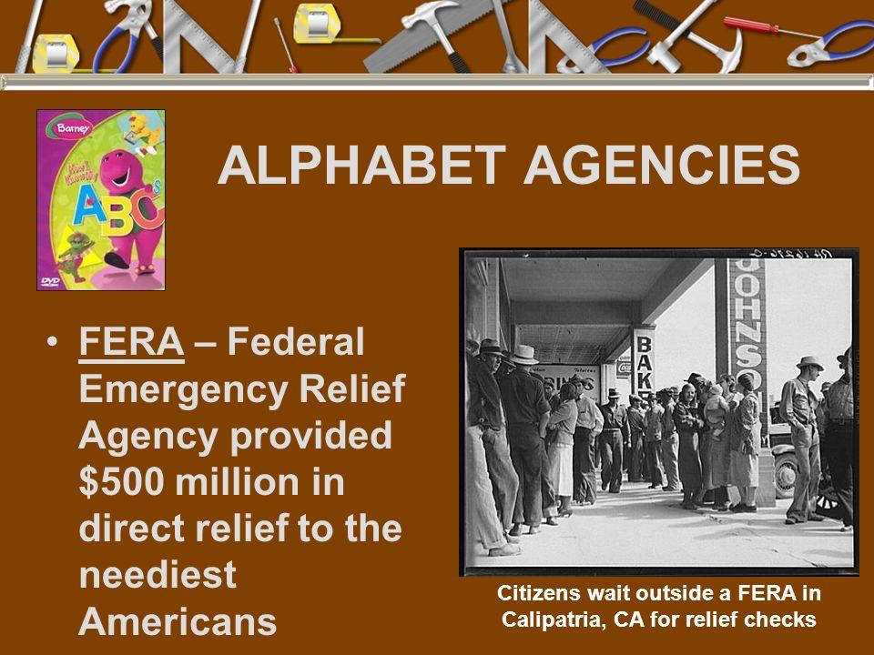 Citizens wait outside a FERA in Calipatria, CA for relief checks