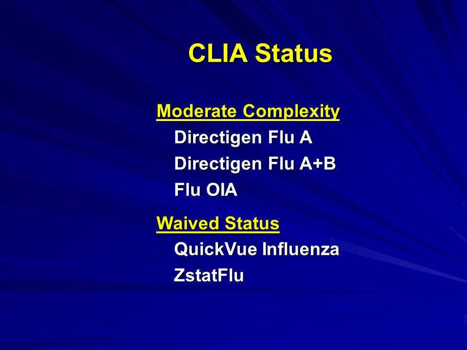 CLIA Status Moderate Complexity Directigen Flu A+B Flu OIA