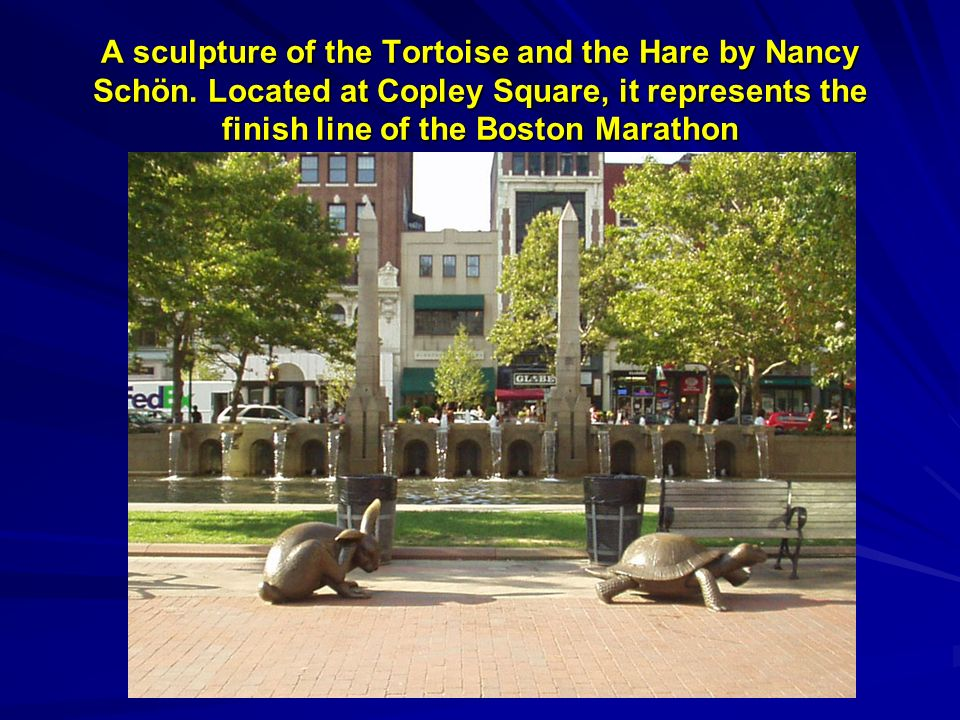 A sculpture of the Tortoise and the Hare by Nancy Schön