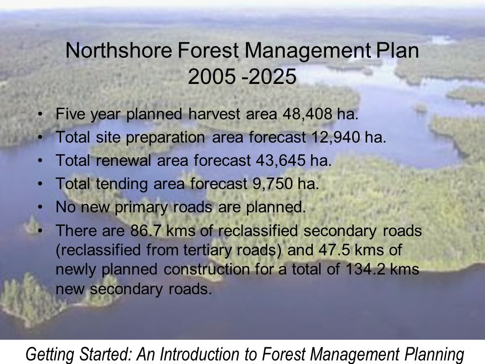 Northshore Forest Management Plan 2005 -2025