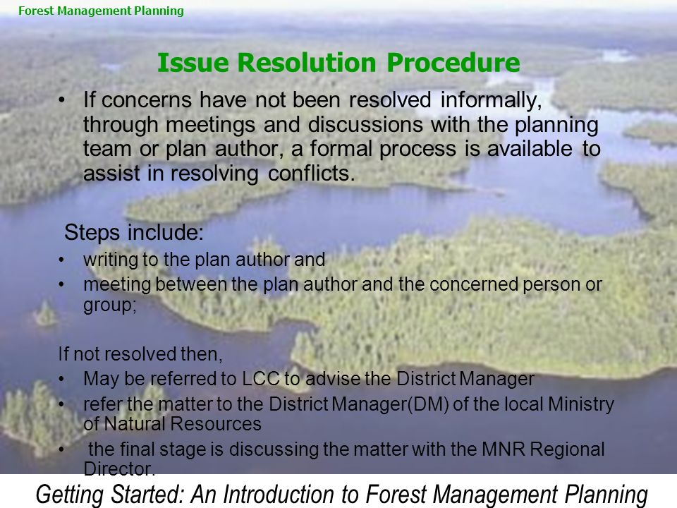 Issue Resolution Procedure