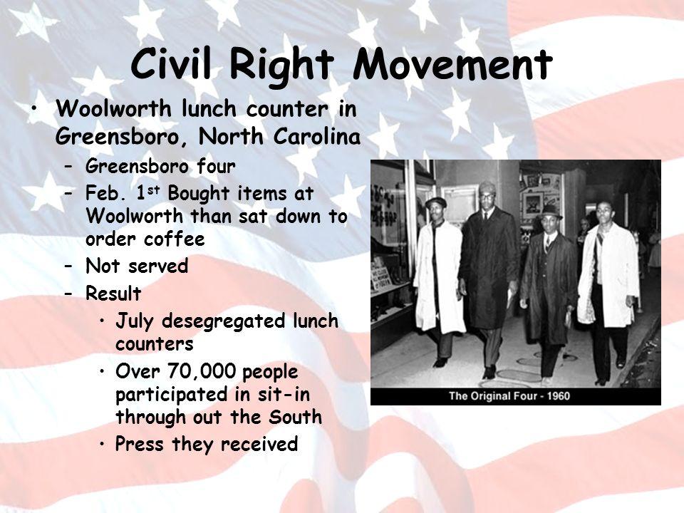 Civil Right Movement Woolworth lunch counter in Greensboro, North Carolina. Greensboro four.