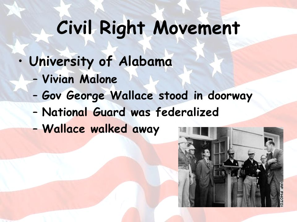 Civil Right Movement University of Alabama Vivian Malone