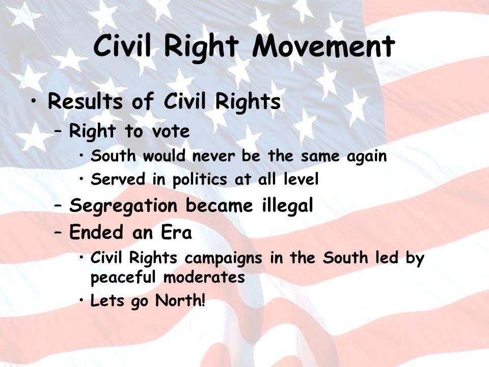Civil Right Movement Results of Civil Rights Right to vote