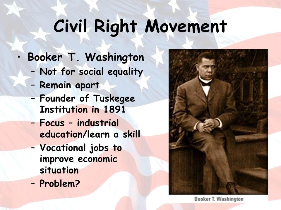 Civil Right Movement Booker T. Washington Not for social equality