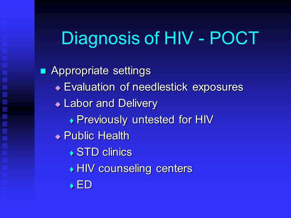 Diagnosis of HIV - POCT Appropriate settings