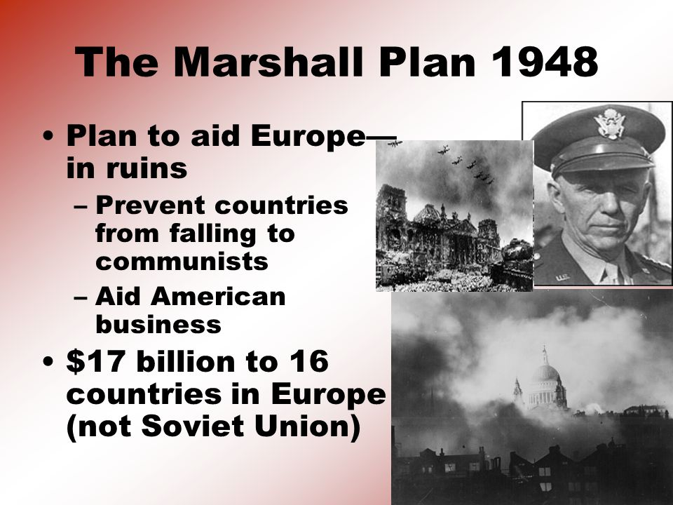 The Marshall Plan 1948 Plan to aid Europe—in ruins