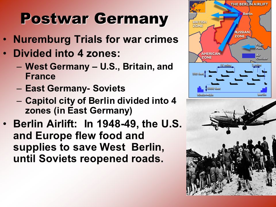 Postwar Germany Nuremburg Trials for war crimes Divided into 4 zones: