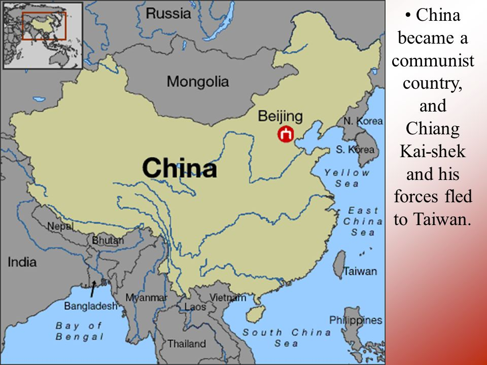 China became a communist country, and Chiang Kai-shek and his forces fled to Taiwan.