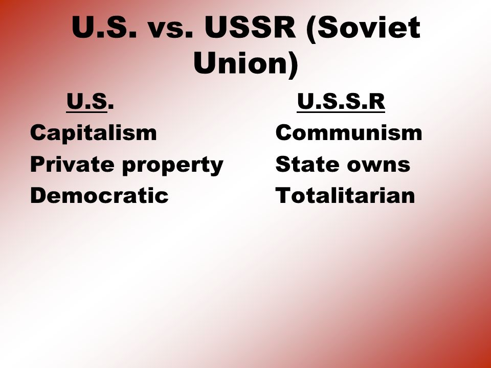 U.S. vs. USSR (Soviet Union)