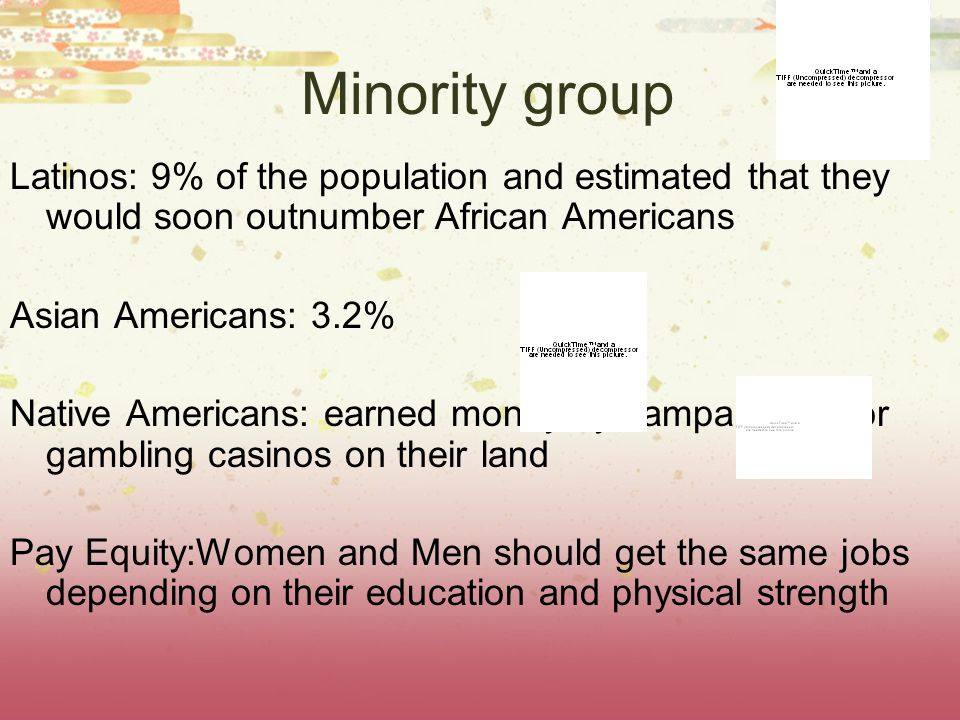 Minority groupLatinos: 9% of the population and estimated that they would soon outnumber African Americans.