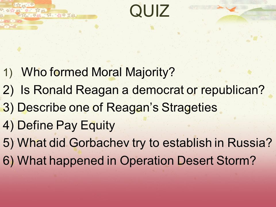 QUIZ Who formed Moral Majority