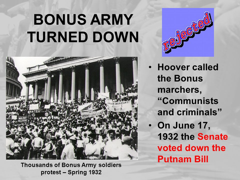 Thousands of Bonus Army soldiers protest – Spring 1932