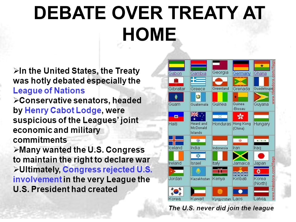 DEBATE OVER TREATY AT HOME