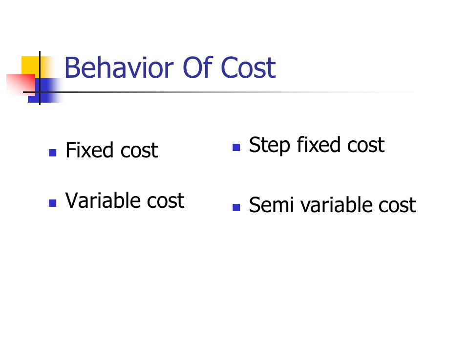 Behavior Of Cost Step fixed cost Fixed cost Semi variable cost