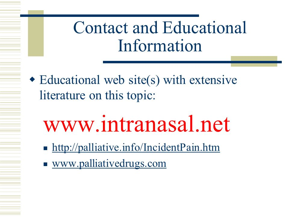 Contact and Educational Information