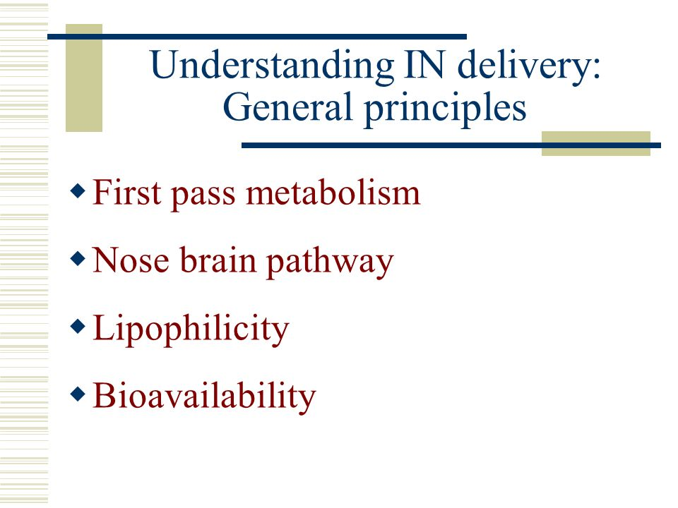 Understanding IN delivery: General principles