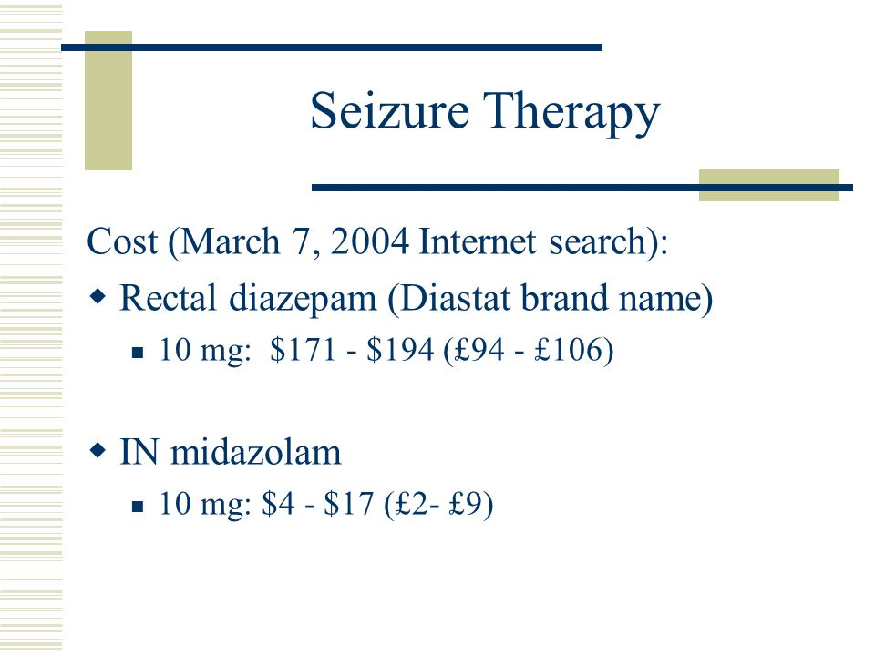 Seizure Therapy Cost (March 7, 2004 Internet search):