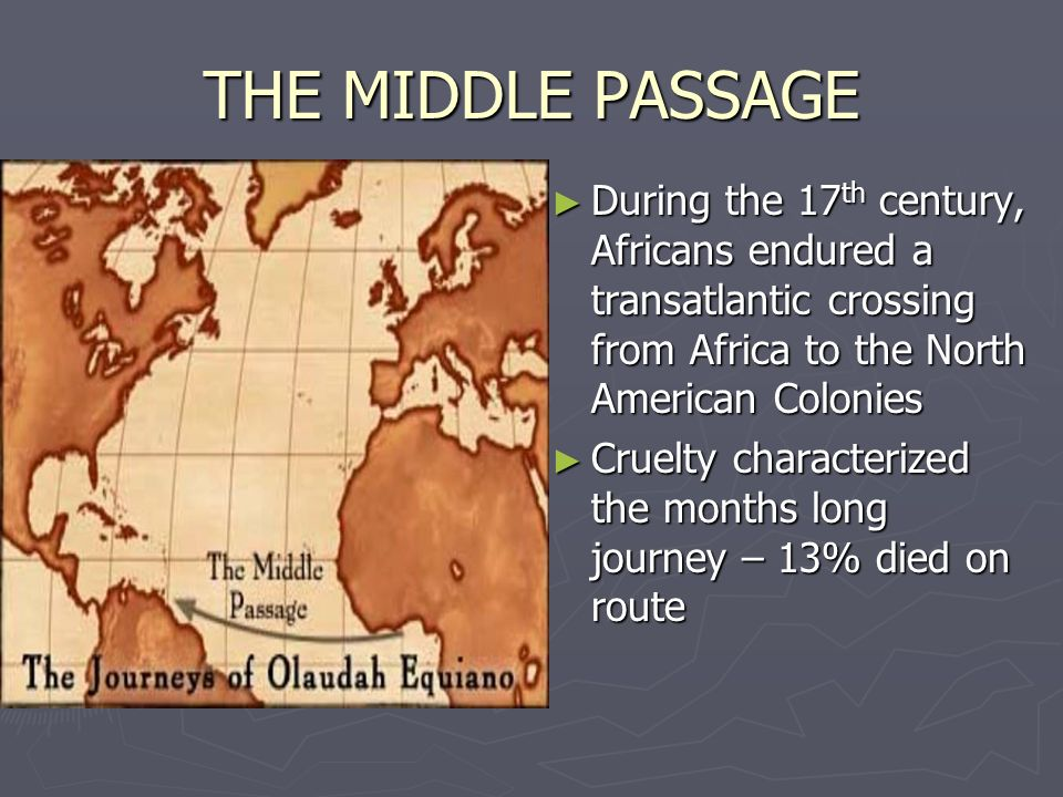 THE MIDDLE PASSAGE During the 17th century, Africans endured a transatlantic crossing from Africa to the North American Colonies.