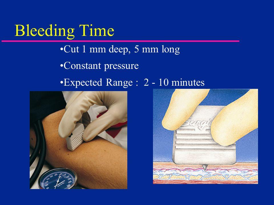Bleeding Time Cut 1 mm deep, 5 mm long Constant pressure