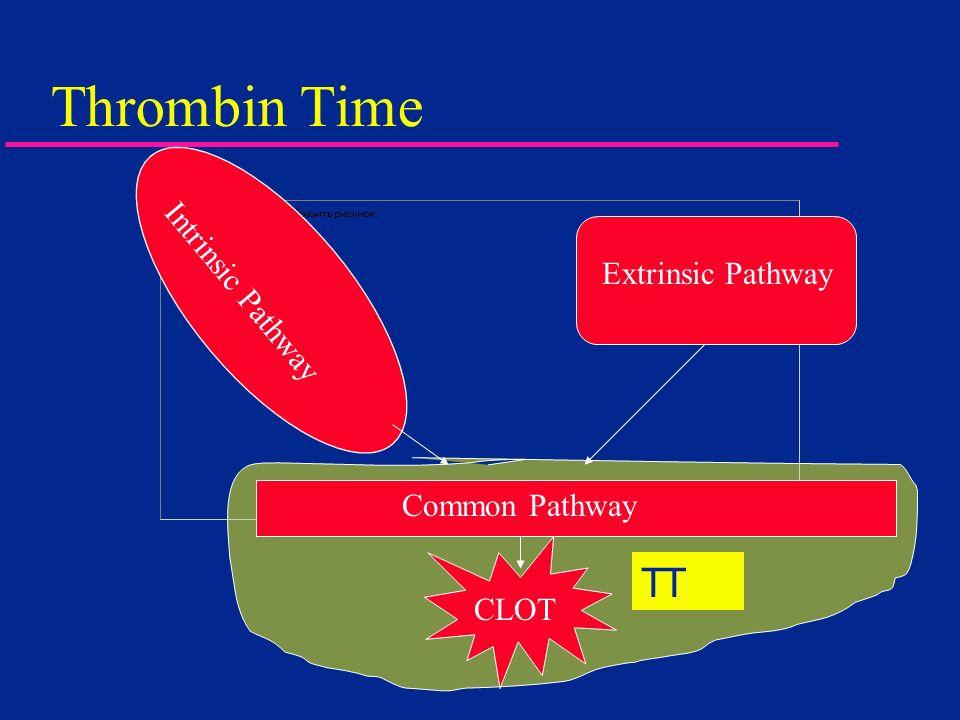 Thrombin Time TT Intrinsic Pathway Extrinsic Pathway Common Pathway