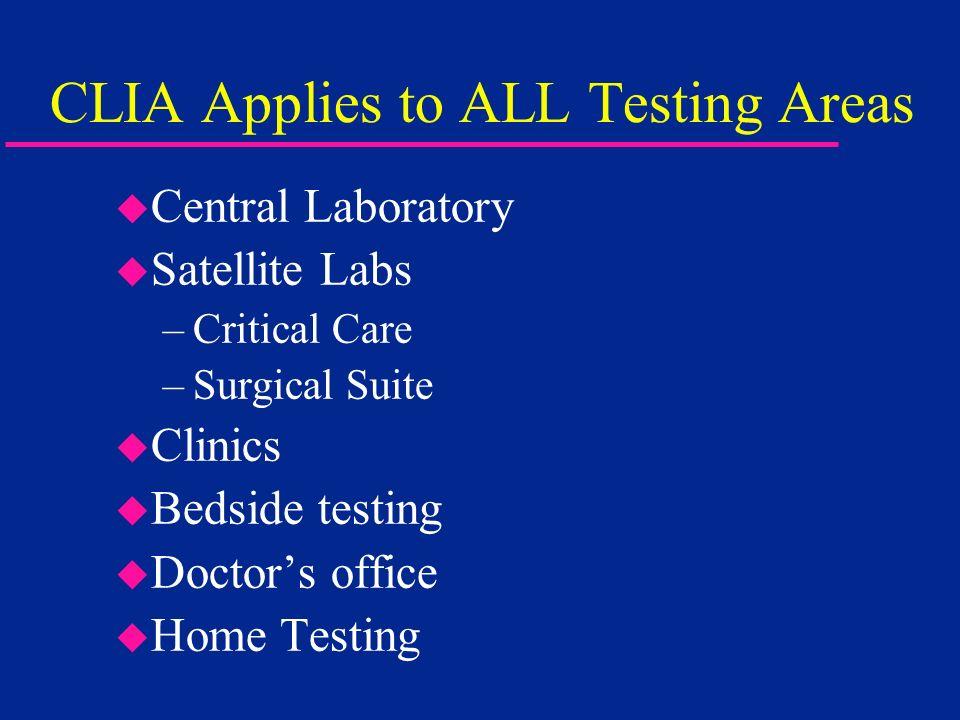 CLIA Applies to ALL Testing Areas