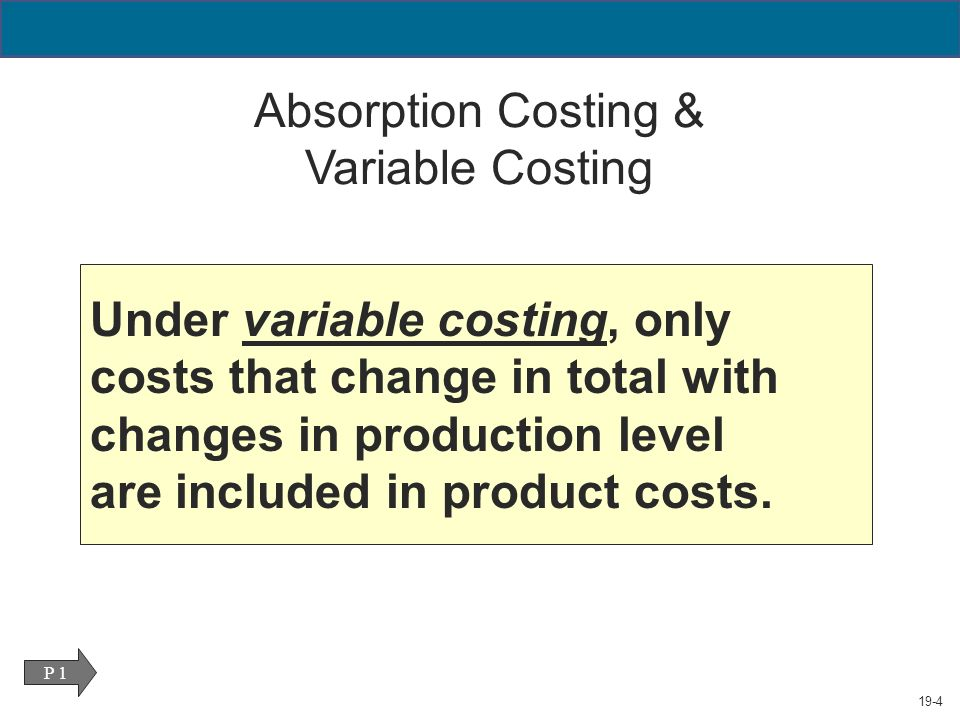 absorption costing vs variable direct costing Absorption costing will not obviously show the actual cost vs volume association such as variable costing really does in case over head can be a big component in the product or service cost, executives will not likely observe a lot cost variation any time manufacturing rates shift.