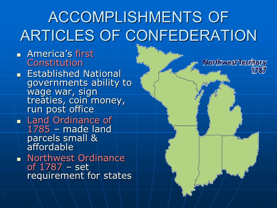 ACCOMPLISHMENTS OF ARTICLES OF CONFEDERATION
