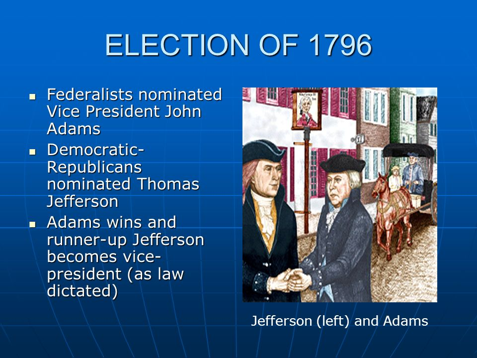 ELECTION OF 1796 Federalists nominated Vice President John Adams