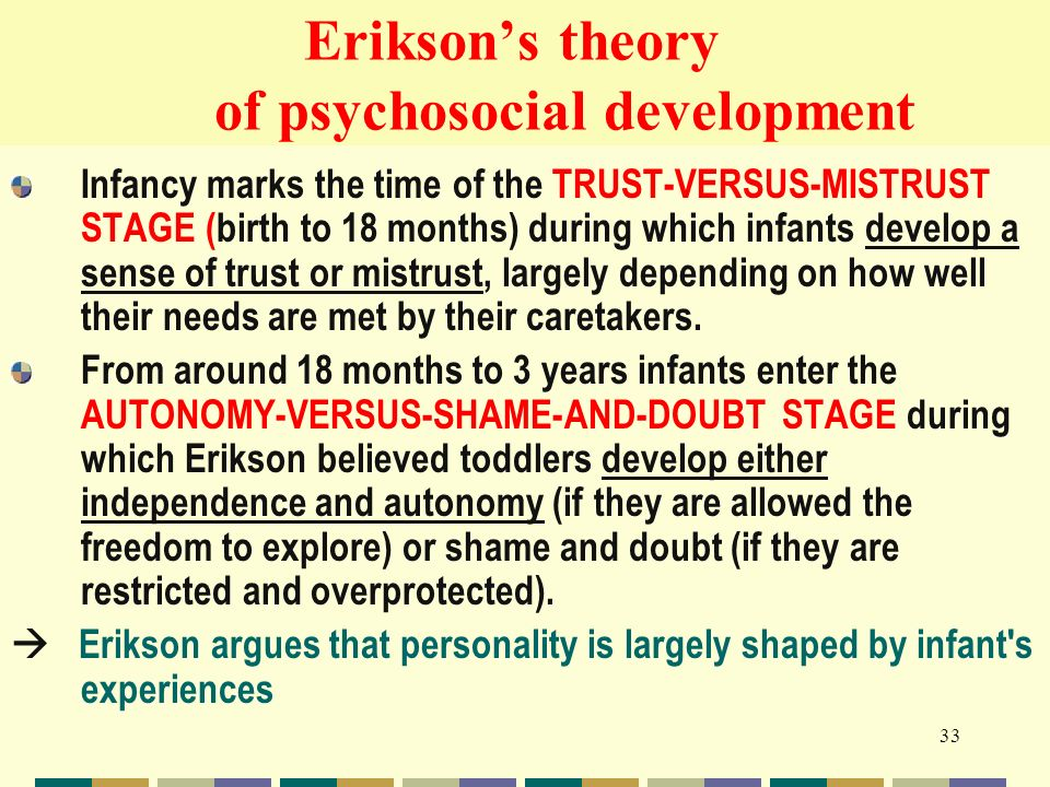 erikson's psychosocial development theory Voiceover: now it's time to take a look at erik erikson's theory of psychosocial development so if you remember he was the second, theorist i had mentioned in the overview video.