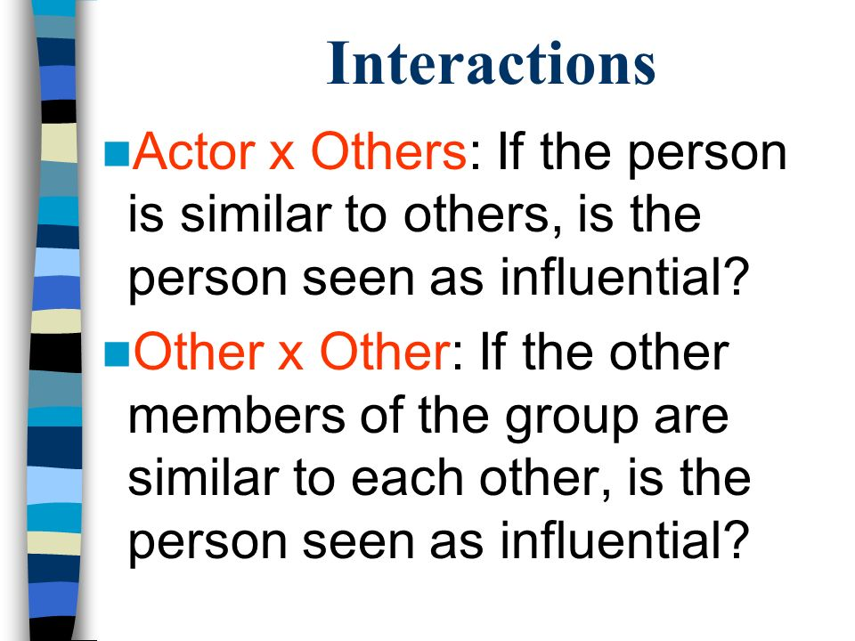 Interactions Actor x Others: If the person is similar to others, is the person seen as influential